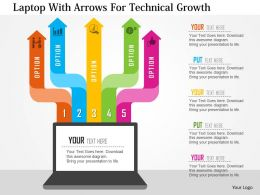 Laptop With Arrows For Technical Growth Flat Powerpoint Design