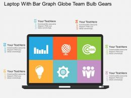 Laptop With Bar Graph Globe Team Bulb Gears Flat Powerpoint Design