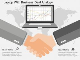 Laptop With Business Deal Analogy Ppt Presentation Slides