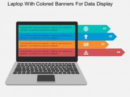 Laptop With Colored Banners For Data Display Flat Powerpoint Design