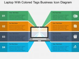Laptop With Colored Tags Business Icon Diagram Flat Powerpoint Design