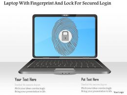 Laptop With Fingerprint And Lock For Secured Login Ppt Slides