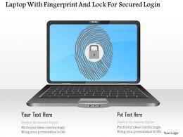 Laptop With Fingerprint And Lock For Secured Login Ppt Slides