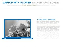 Laptop With Flower Background Screen Flat Powerpoint Design