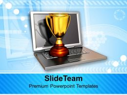 Laptop With Golden Trophy Computer PowerPoint Templates PPT Themes And Graphics 0213