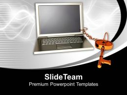 Laptop With Key And Chain Attached Success Powerpoint Templates Ppt Themes And Graphics 0213