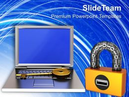 Laptop With Key And Lock Security PowerPoint Templates PPT Themes And Graphics 0213