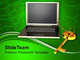 Laptop With Key Chain Business Powerpoint Templates Ppt Backgrounds For Slides 0213