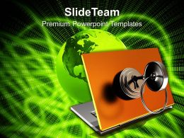 Laptop With Lock And Key Security Powerpoint Templates Ppt Themes And Graphics 0113