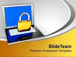 Laptop With Lock Folder Security PowerPoint Templates PPT Themes And Graphics 0113