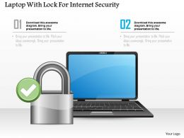 Laptop With Lock For Internet Security Ppt Slides