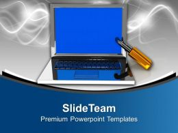 Laptop With Lock Information Security Powerpoint Templates Ppt Themes And Graphics 0213
