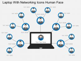 Laptop With Networking Icons Human Face Flat Powerpoint Design