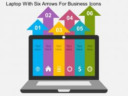 laptop_with_six_arrows_for_business_icons_flat_powerpoint_design_Slide01