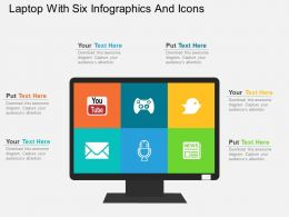 Laptop With Six Infographics And Icons Flat Powerpoint Design