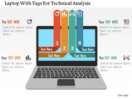 Laptop With Tags For Technical Analysis Flat Powerpoint Design
