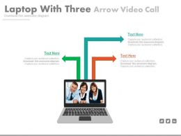 Laptop With Three Arrows Video Call Flat Powerpoint Design