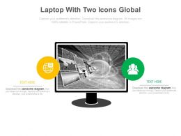 Laptop With Two Icons Global Communication Powerpoint Slides