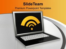 Laptop With Wifi Symbol Computer Powerpoint Templates PPT Themes And Graphics 0213