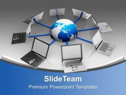 Laptops Interconnected Network Technology PowerPoint Templates PPT Themes And Graphics 0213