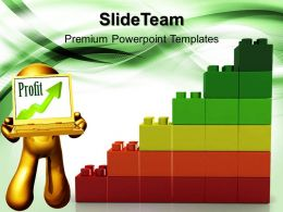 Large Building Blocks Templates Lego Profit Graph Business Marketing Ppt Slides Powerpoint