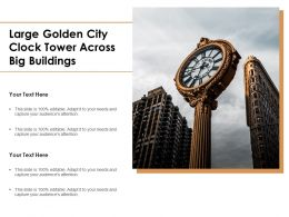 Large Golden City Clock Tower Across Big Buildings