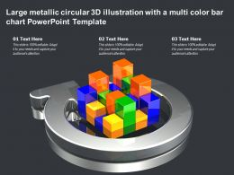 Large Metallic Circular 3d Illustration With A Multi Color Bar Chart Powerpoint Template