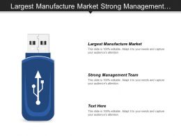 Largest Manufacture Market Strong Management Team Strong Brand Portfolio