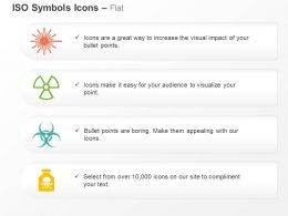 Laser Radiation Radioactive Chemical And Biohazard ISO Icons For Powerpoint