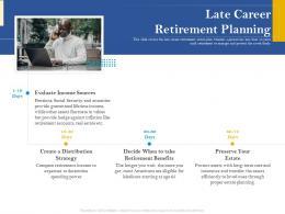 Late Career Retirement Planning Retirement Analysis Ppt Portfolio Ideas