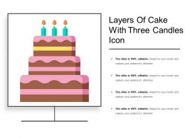 Layers Of Cake With Three Candles Icon