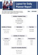 Layout For Daily Planner Report Presentation Report Infographic PPT PDF Document