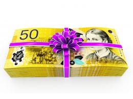 Layout Of Cash Gift Stock Photo