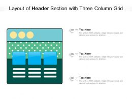 Layout Of Header Section With Three Column Grid