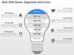 lb Bulb With Seven Segments And Icons Powerpoint Template