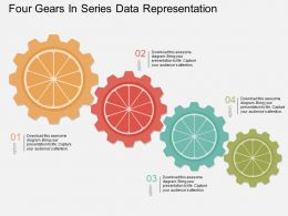 Lb Four Gears In Series Data Representation Flat Powerpoint Design