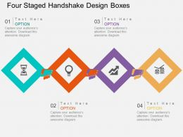 lb Four Staged Handshake Design Boxes Flat Powerpoint Design