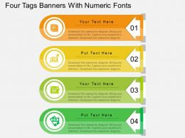 lc Four Tags Banners With Numeric Fonts Flat Powerpoint Design