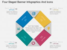 Le Four Staged Banner Infographics And Icons Flat Powerpoint Design
