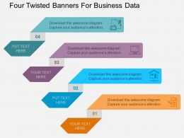 le Four Twisted Banners For Business Data Flat Powerpoint Design