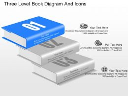 le Three Level Book Diagram And Icons Powerpoint Template