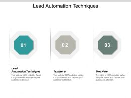 Lead Automation Techniques Ppt Powerpoint Presentation Inspiration Slide Download Cpb