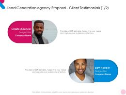 Lead Generation Agency Proposal Client Testimonials Communication Ppt Powerpoint Aids