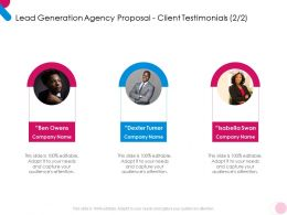 Lead Generation Agency Proposal Client Testimonials Teamwork Ppt Powerpoint Example
