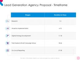 Lead Generation Agency Proposal Timeframe Ppt Powerpoint Presentation Icon Graphics Tutorials
