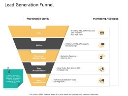 Lead Generation Funnel Data Sheets Ppt Powerpoint Presentation Professional Template