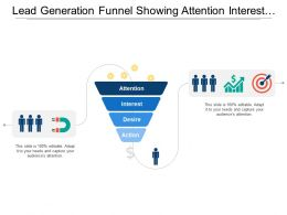 Lead Generation Funnel Showing Attention Interest Desire And Action