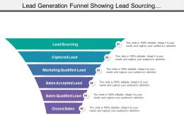 Lead Generation Funnel Showing Lead Sourcing And Marketing Captured Lead