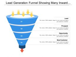 Lead Generation Funnel Showing Many Inward Arrow And One Outward Arrow