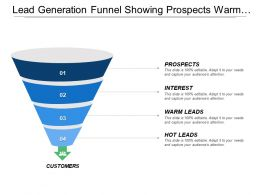 Lead Generation Funnel Showing Prospects Warm Leads And Hot Leads